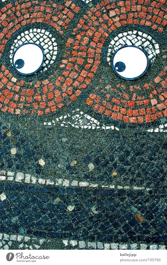 Eyes Wall (building) Architecture Wall (barrier) Design Crazy Floor covering Comic Mosaic Face Multicoloured