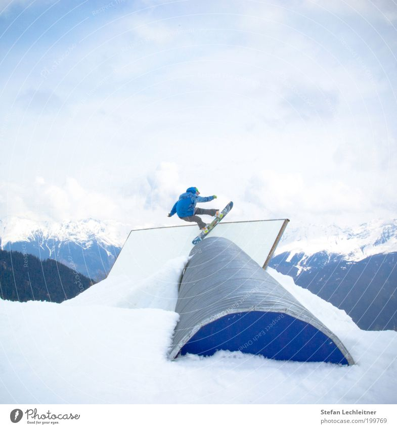 Pipe free Human being Masculine Athletic Wall (barrier) Snowboard Snowboarder Winter Freestyle Cool (slang) Mountain Federal State of Tyrol Tourism Blue Style