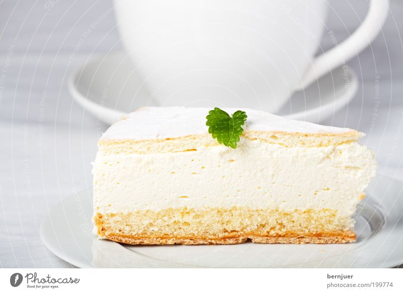 White Leaf Nutrition Fresh Sweet Decoration Part Cake Delicious Cup Plate Baked goods Gateau Dessert Cream Food