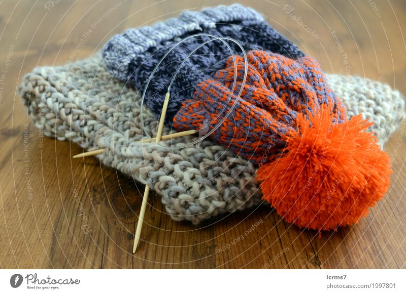 knitting scarf and woolly has Leisure and hobbies Warmth Fashion Cap Knit Creativity creased yarn handmade needle The Needles Background picture woolen thread