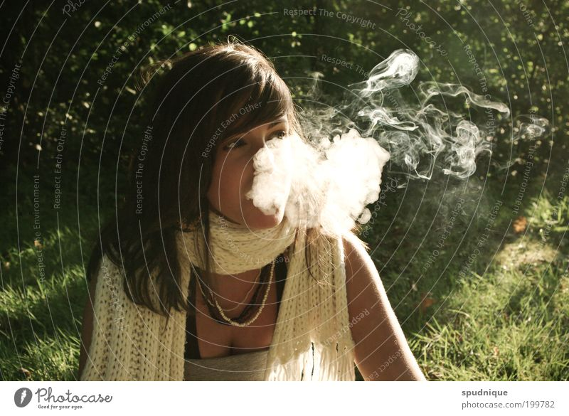Human being Nature Youth (Young adults) Meadow Feminine Emotions Adults Free Smoking Smoke Beautiful weather Woman Portrait photograph Scarf Young woman