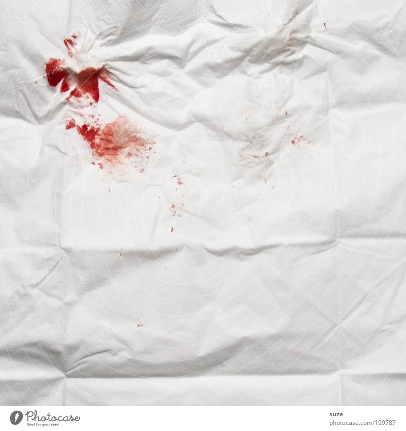 0, Rh-pos Blood Handkerchief Nose bleed Blood stain Red Pain White DNA piece of evidence Evidence Wrinkles Clue Dirty