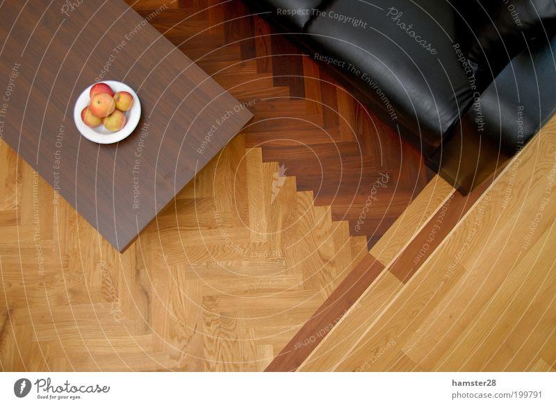 parquet Elegant Design Living or residing Flat (apartment) Dream house Interior design Esthetic New Parquet floor Herringbone Fruit Apple Fruit bowl Sofa