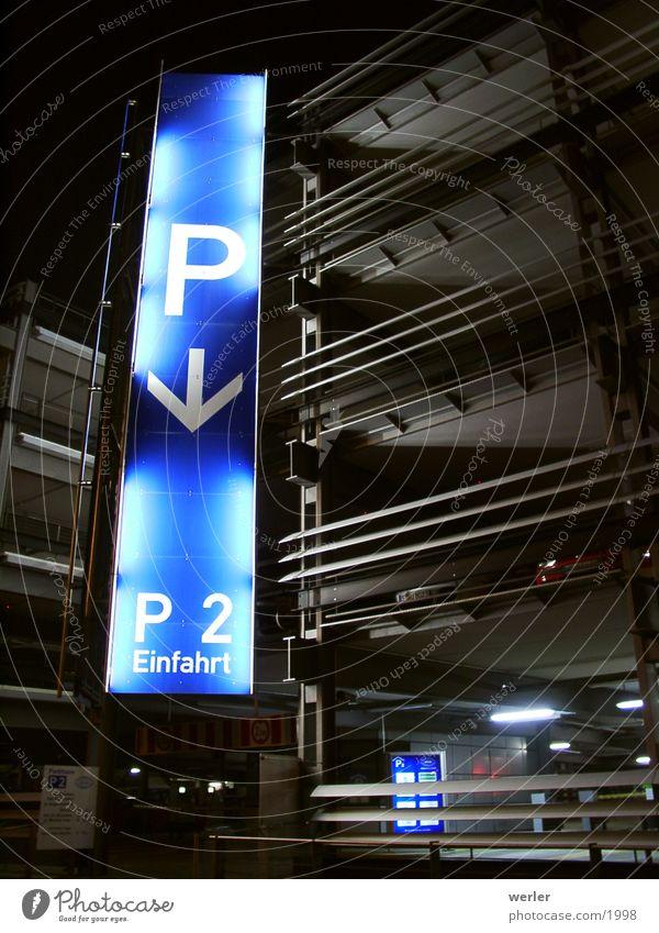 Blue Black Signs and labeling Transport Parking garage Night shot