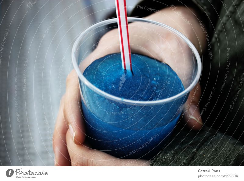 Blue Hand Cold Food Leisure and hobbies Beverage Sweet Cool (slang) Drinking Fluid Delicious Exotic Thirst Mug Straw Cold drink