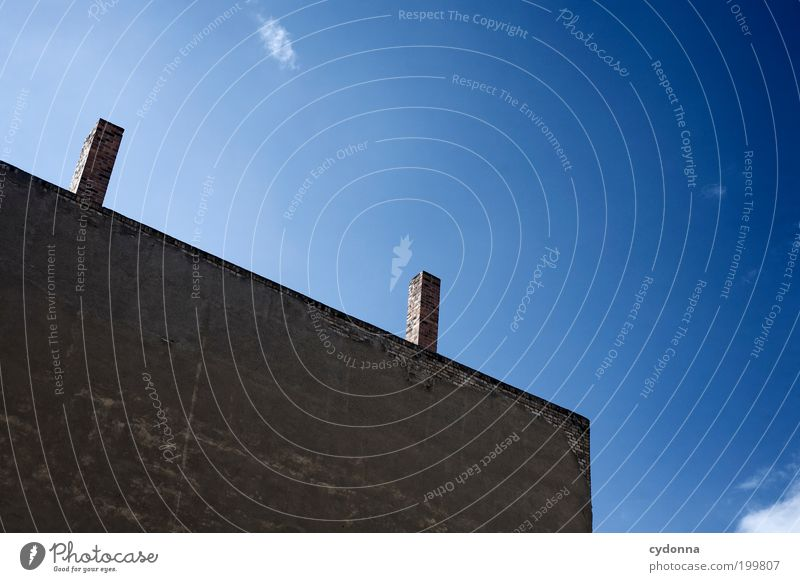 Sky Blue Calm House (Residential Structure) Wall (building) Style Wall (barrier) Architecture Facade Esthetic In pairs Discover Idea Chimney Vertical Stagnating