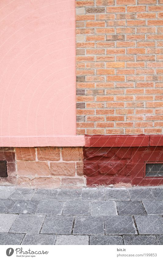 Red House (Residential Structure) Wall (building) Gray Stone Wall (barrier) Building Line Architecture Pink Background picture Concrete Facade Corner Stripe