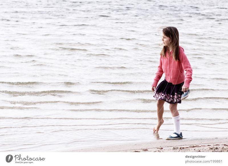 Water Girl Ocean Summer Beach Vacation & Travel Cold Emotions Feet Pink Weather Hope Climate Child Curiosity