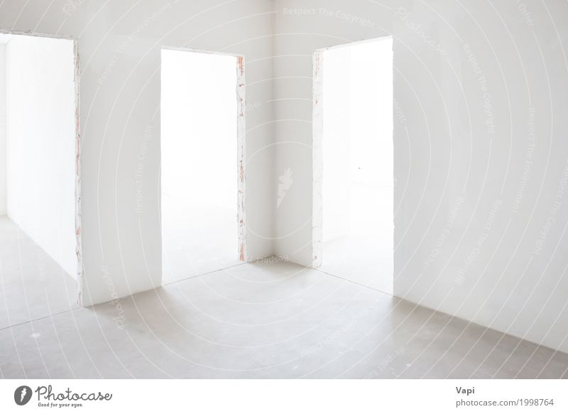 White room with 3 entrances House (Residential Structure) Architecture Wall (building) Interior design Building Wall (barrier) Business Lamp Gray Design