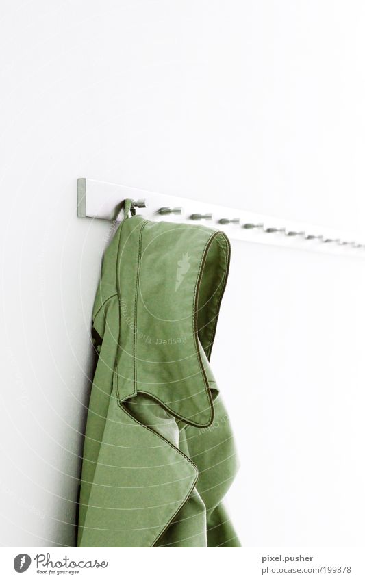 jacket Clothing Jacket Coat Leather Green White Esthetic Loneliness Services Style Living or residing Colour photo Interior shot Copy Space right Copy Space top