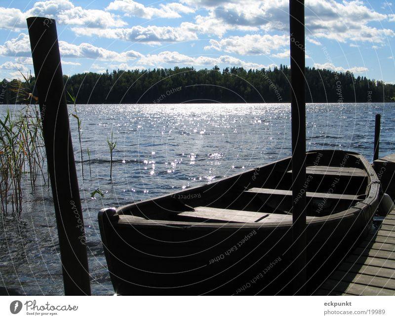 Water Sun Clouds Lake Watercraft Footbridge Sweden