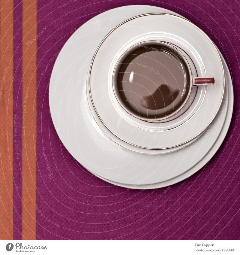 White Line Orange Table Circle Beverage Coffee Break Violet Decoration Stripe Crockery Cup Still Life Plate Geometry