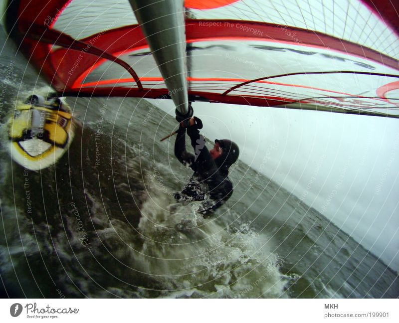 beach start Leisure and hobbies Ocean Waves Sports Aquatics Windsurfing Baltic Sea Masculine Young man Youth (Young adults) 18 - 30 years Adults Nature