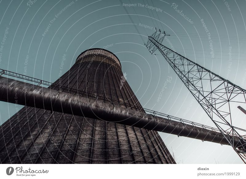 outside the cooling tower Energy industry Nuclear Power Plant Coal power station Energy crisis Industry Electricity pylon Deserted Industrial plant Tower