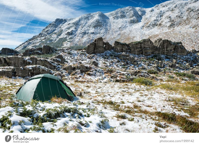 Green tent in snow mountains Sky Nature Vacation & Travel Blue Colour White Landscape Clouds Winter Mountain Black Environment Yellow Autumn Spring