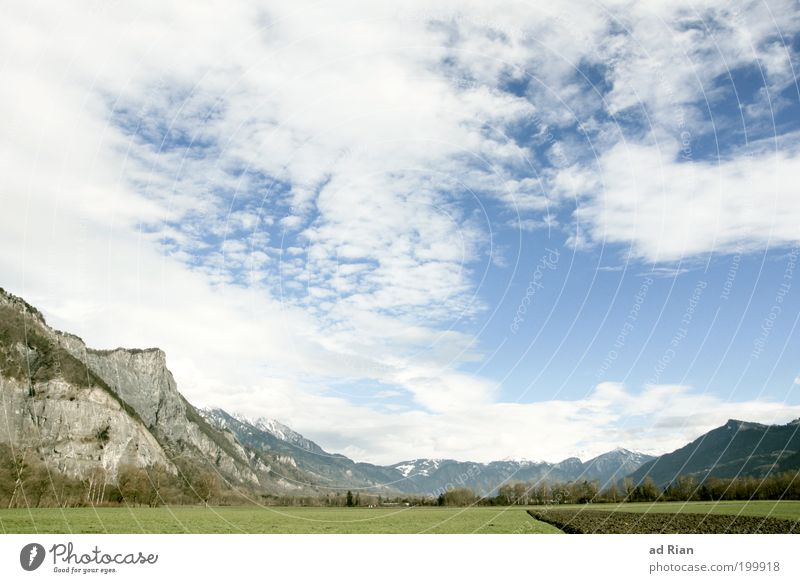 Sky Nature Clouds Calm Relaxation Environment Mountain Grass Spring Rock Field Tourism Alps Idyll Peak Agriculture