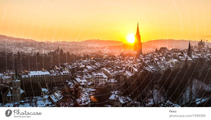Bernese Old Town Canton Bern Switzerland Rose garden Building Downtown Swiss parliament Münster Capital city Old town Architecture Aare Chimney Sunset Fog
