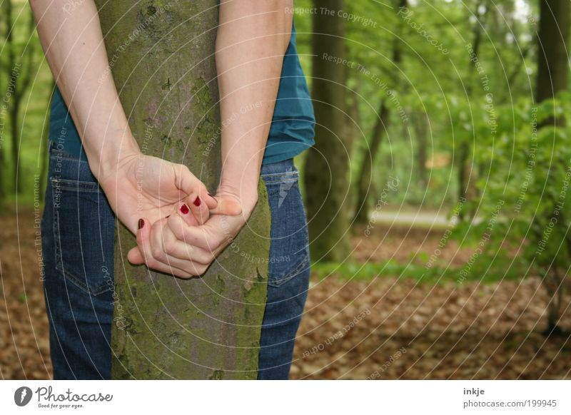 none was there ...but me Young woman Youth (Young adults) Life Hand 1 Human being 18 - 30 years Adults Tree Tree trunk Park Forest Jeans Nail polish Stand Wait