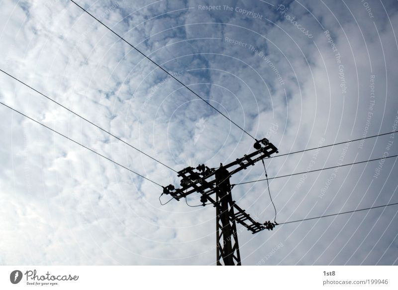 White Blue Clouds Horizon Industry Energy industry Electricity Network Future Technology Telecommunications Solar Power Tension Electricity pylon