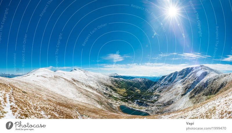 Panorama on beautiful mountain landscape Vacation & Travel Tourism Trip Adventure Far-off places Summer Sun Winter Snow Winter vacation Mountain Environment