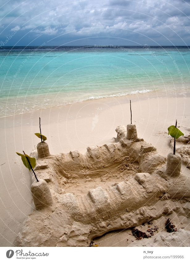 sandcastle Well-being Contentment Relaxation Calm Playing Vacation & Travel Trip Summer Summer vacation Beach Ocean Island Environment Nature Landscape Sand