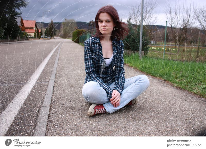 Woman Human being Youth (Young adults) Adults House (Residential Structure) Feminine Sit Free Portrait photograph Sidewalk Boredom Young woman Home country Roadside Town Cycle path