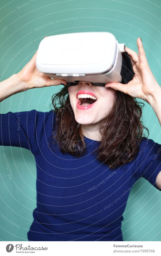 Virtuelle Realität (01) Leisure and hobbies Technology Future Advancement Person wearing glasses High-tech Virtual Entertainment electronics Gaming machine