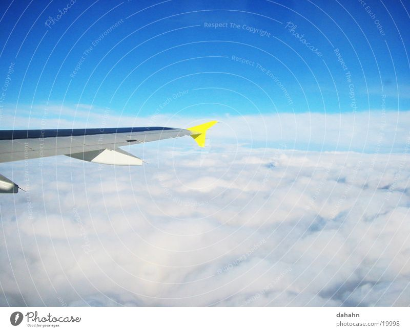 Sky Blue Clouds Airplane Flying Technology Wing Electrical equipment