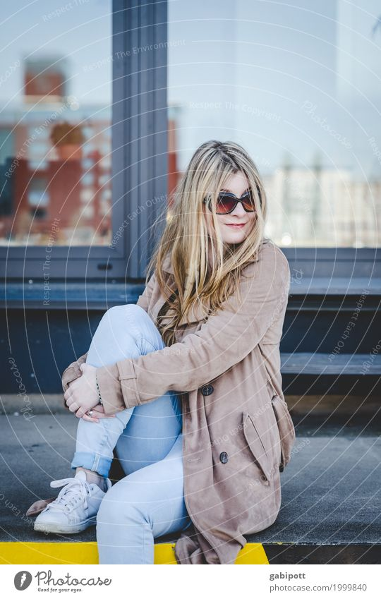 young woman with sunglasses sits on loading ramp Lifestyle Style Joy Beautiful Human being Feminine Young woman Youth (Young adults) Woman Adults 1