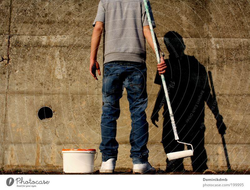 painters Art Artist Painter Summer Outskirts Wall (barrier) Wall (building) T-shirt Pants Footwear Graffiti Work and employment Cool (slang) White Design Colour