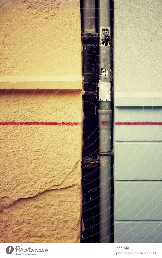 Photo ID: 200000... Wall (barrier) Wall (building) Multicoloured Eaves Daub Drainage Line Rendered facade Crack & Rip & Tear Label Colour photo Exterior shot