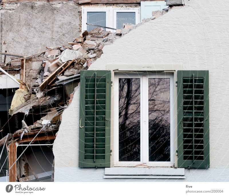 House (Residential Structure) Wall (building) Window Wall (barrier) Flat (apartment) Facade Broken Trash Living or residing Village Interior design Moving (to change residence) Living room Window pane Dismantling Shutter