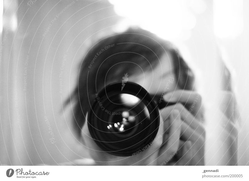 Human being Man Adults Head Photography Masculine Observe Camera 18 - 30 years Photographer Take a photo Self portrait Black & white photo Objective Focus on