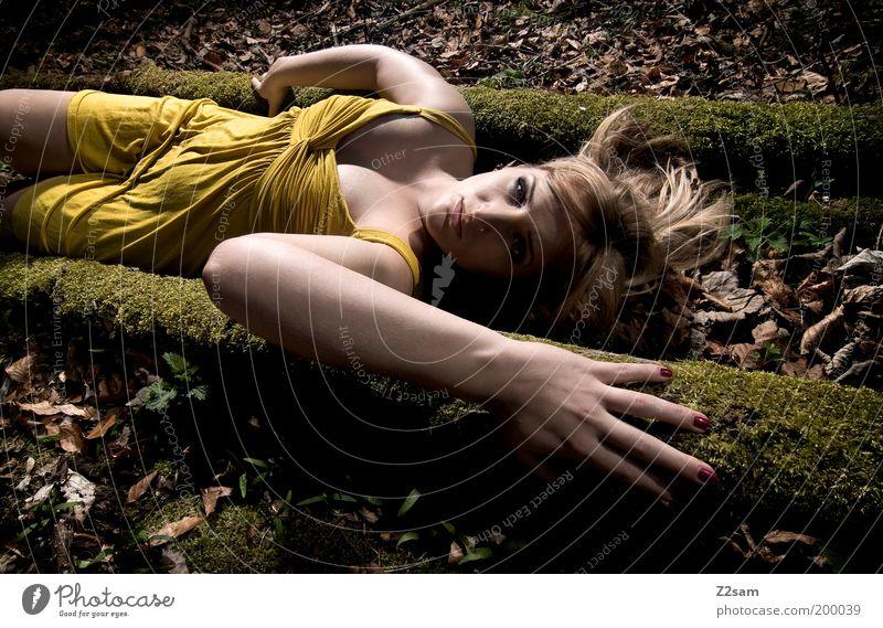 Woman Tree Loneliness Yellow Dark Feminine Style Dream Sadness Landscape Fashion Blonde Adults Elegant Esthetic