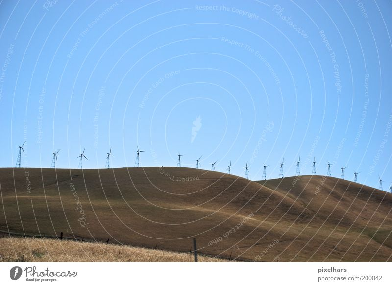 Nature Sky Blue Summer Far-off places Grass Freedom Warmth Sand Landscape Brown Field Wind Hill Wind energy plant Row