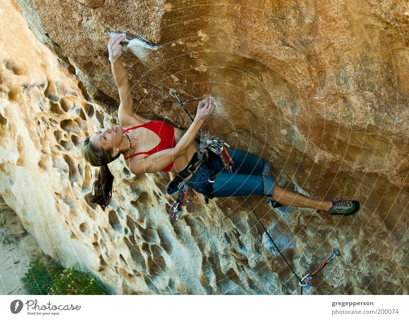 Female climber clinging to a cliff. Youth (Young adults) Loneliness Adults Tall Adventure Rope Dangerous Climbing Athletic 18 - 30 years Hang Risk Woman Vertical Balance Effort
