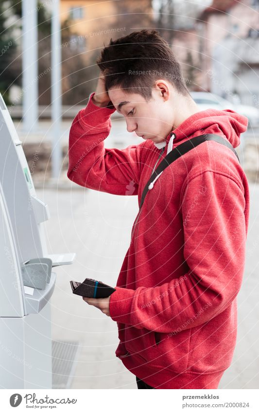 Boy found he lost his debit card Human being Youth (Young adults) Young man Lifestyle Boy (child) 13 - 18 years Technology Money Card Draw Financial institution