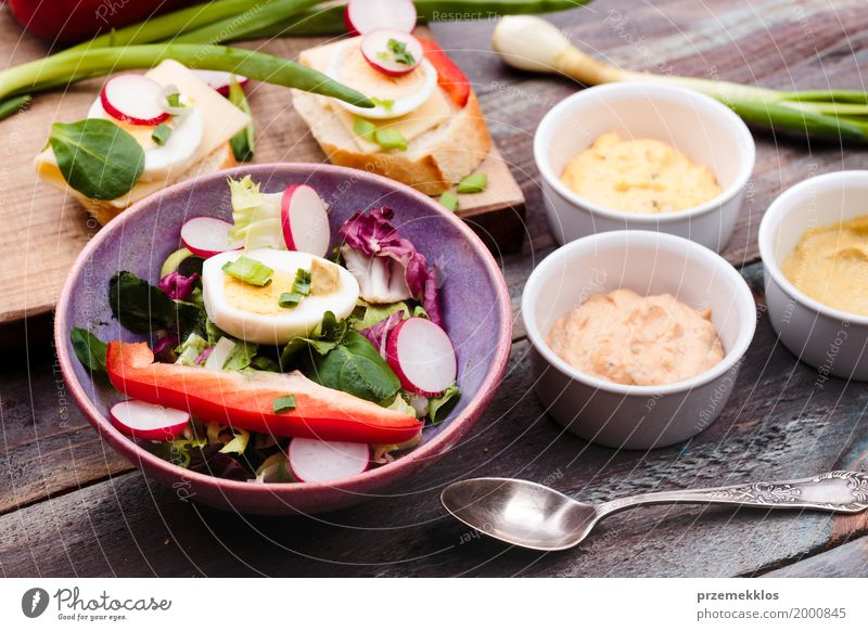 Healthy meal with eggs and vegetables Healthy Eating Wood Food Fresh Table Delicious Vegetable Bread Bowl Meal Diet Vegetarian diet Lunch Lettuce Salad