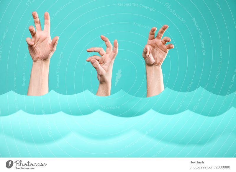 Human being Vacation & Travel Blue Water Hand Ocean Healthy Art Swimming & Bathing Design Waves Fear Dangerous Adventure Shopping Academic studies