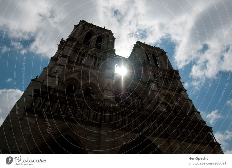 ray of hope Paris France Deserted Dome Tower Manmade structures Architecture Facade Tourist Attraction Landmark Blue Brown White Notre Dame Clouds in the sky
