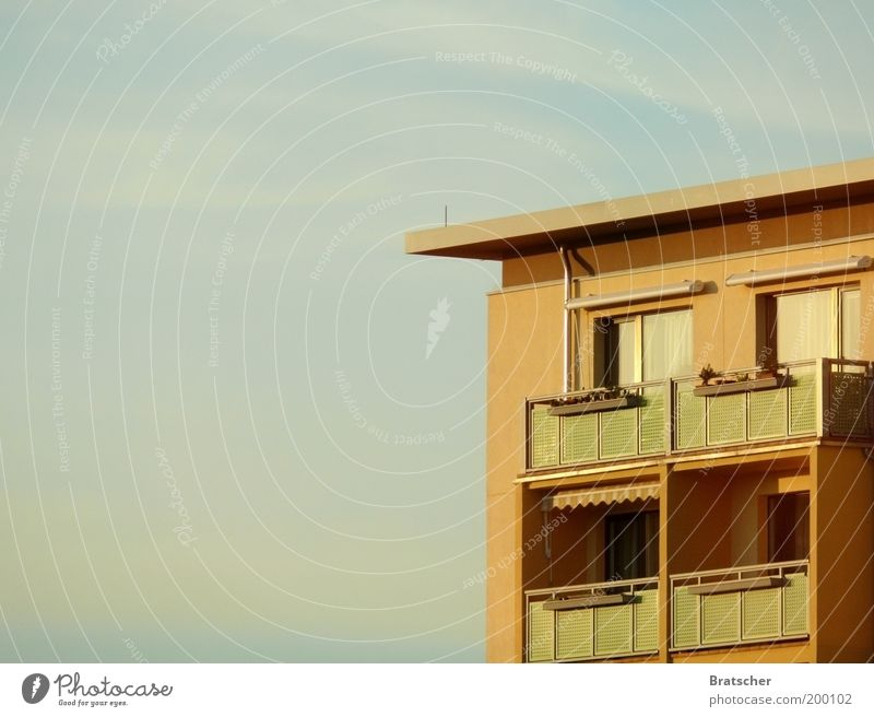Plate to the horizon Living or residing Flat (apartment) House (Residential Structure) Deserted Manmade structures Building Architecture Balcony Subdued colour