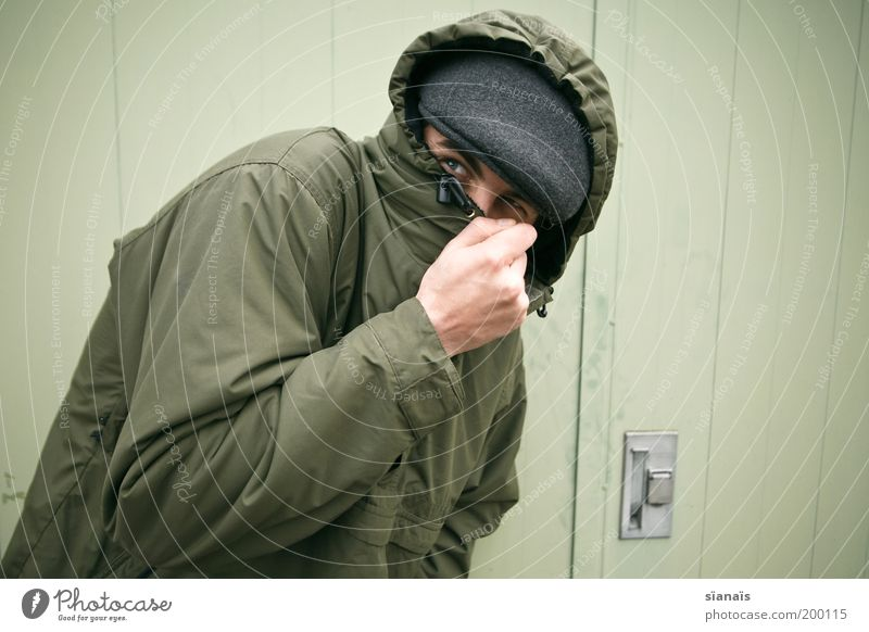 Human being Man Green Adults Door Fear Protection Mysterious Jacket Cap Hat Hide Escape Anonymous Hooded (clothing) Thief