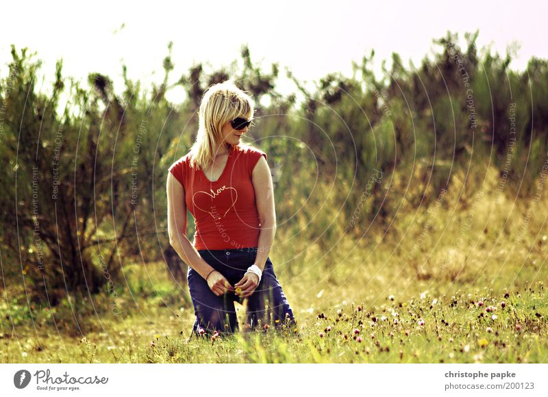Woman Human being Youth (Young adults) Love Relaxation Meadow Feminine Dream Warmth Contentment Moody Blonde Adults Free Sit