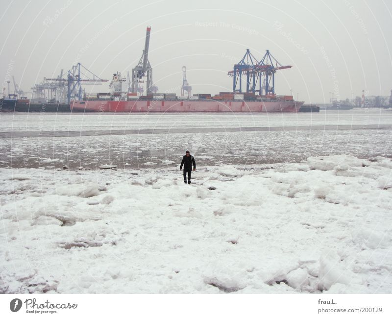 Human being Water Winter Loneliness Snow Ice Adults Masculine Hamburg Logistics River To go for a walk Harbour City Navigation Going