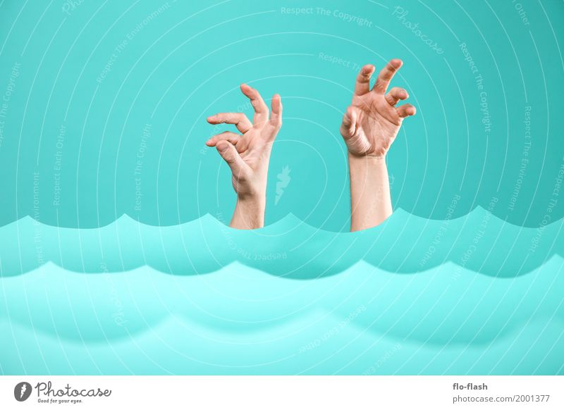 Human being Blue Hand Ocean Art Death Business Swimming & Bathing Design Waves Fear Dangerous Shopping Paper Academic studies Baltic Sea