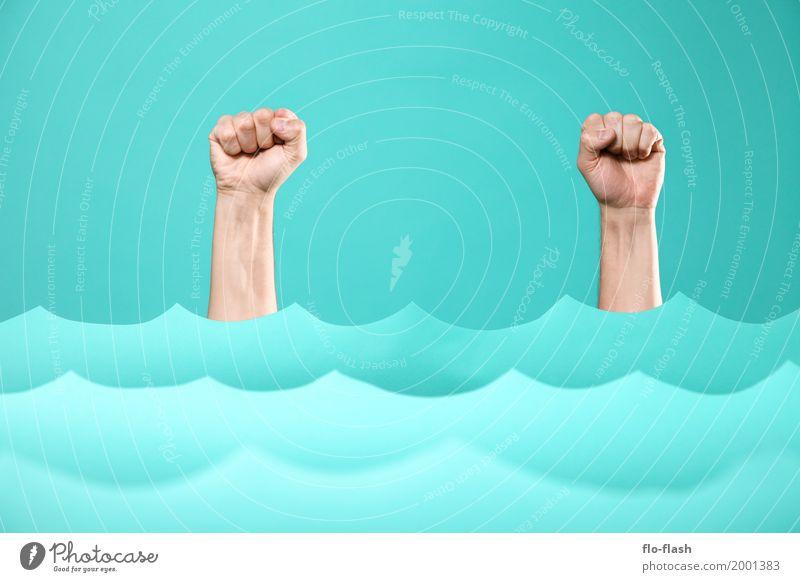 Human being Blue Hand Ocean Art Business Swimming & Bathing Design Waves Power Success Arm Wet Paper Academic studies Fitness