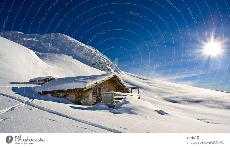 winter landscape with hut Freedom Winter Snow Winter vacation Mountain Nature Landscape Sky Beautiful weather Alps Hut Relaxation Dream Infinity Blue White