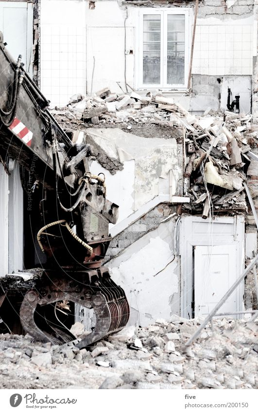 House (Residential Structure) Wall (building) Window Stone Wall (barrier) Building Flat (apartment) Door Facade Stairs Broken Trash Living or residing Material Dismantling Excavator