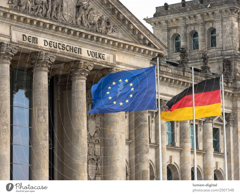 German flag and EU flag in front of the Reichstag in Berlin Architecture Flag Together Communicate Problem solving Dem deutschen Volke Entrance Europe Gable