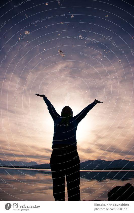 Woman Sky Water Sun Joy Winter Adults Happy Freedom Lake Glittering Arm Tall Joie de vivre (Vitality) Stars Beautiful weather